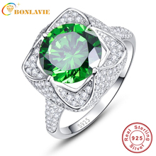 BONLAVIE Luxurious Wedding Accessories 6.5ct Natural Emerald Topaz Square Ring 925 Sterling Silver Rings For Women Size 6/7/8/9