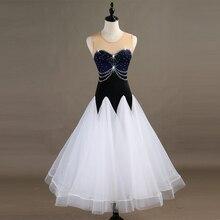 Ballroom Dance Dresses Long Sleeve foxtrot Dancing Skirt  Women Stage Waltz Dress white MQ094