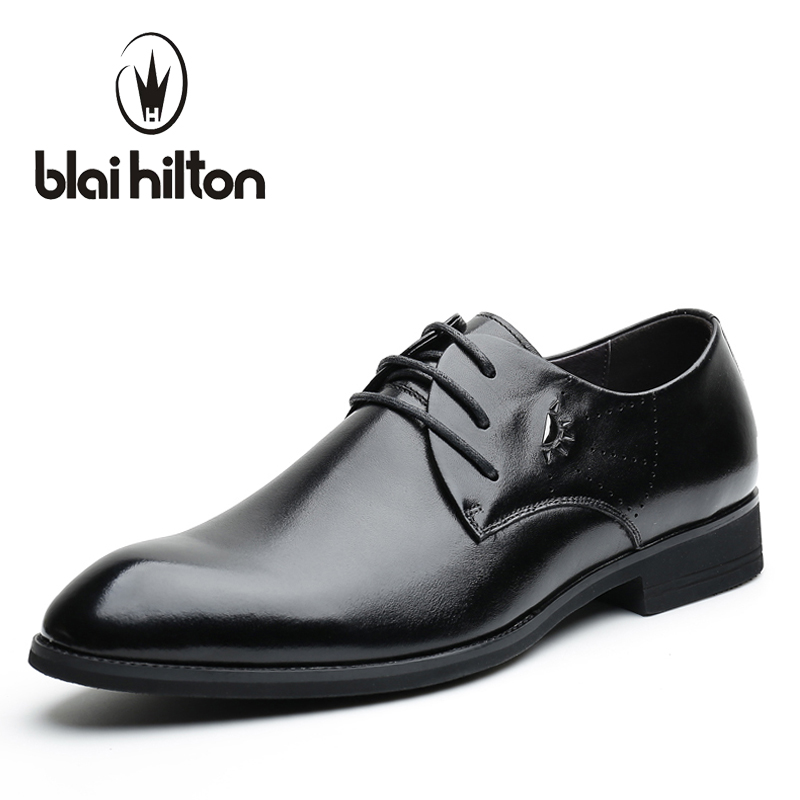 Blaibilton Brand Business Classic Office 100% Genuine Leather Elegant Formal Dress Men Shoes Oxfords Wedding Mens Casual SD7106 top quality crocodile grain black oxfords mens dress shoes genuine leather business shoes mens formal wedding shoes