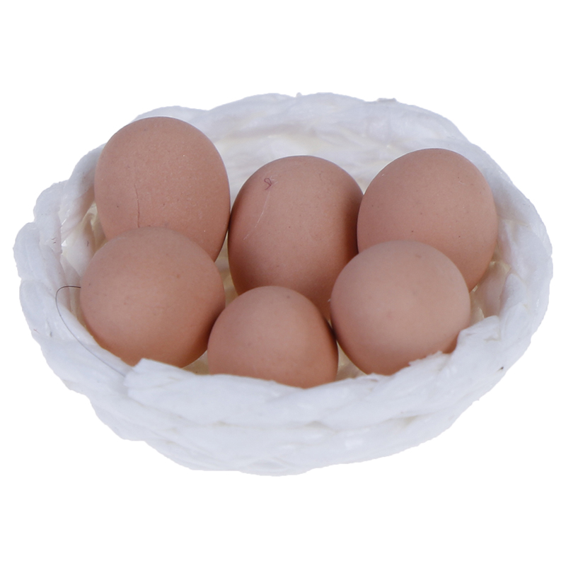 1Set 1/12 Scale Simulation Eggs And Nest Set Dollhouse Miniature Chickenfor Kids Kitchen Pretend Play Toy Micro Landscape