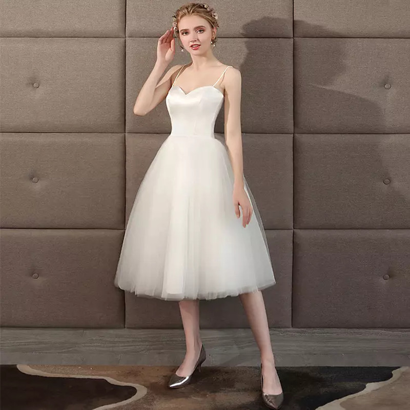 Holievery Sweetheart Satin Tulle Beach Wedding Dresses with spaghetti straps 2019 Knee Length/Short Wedding Dress Lace Up Gowns