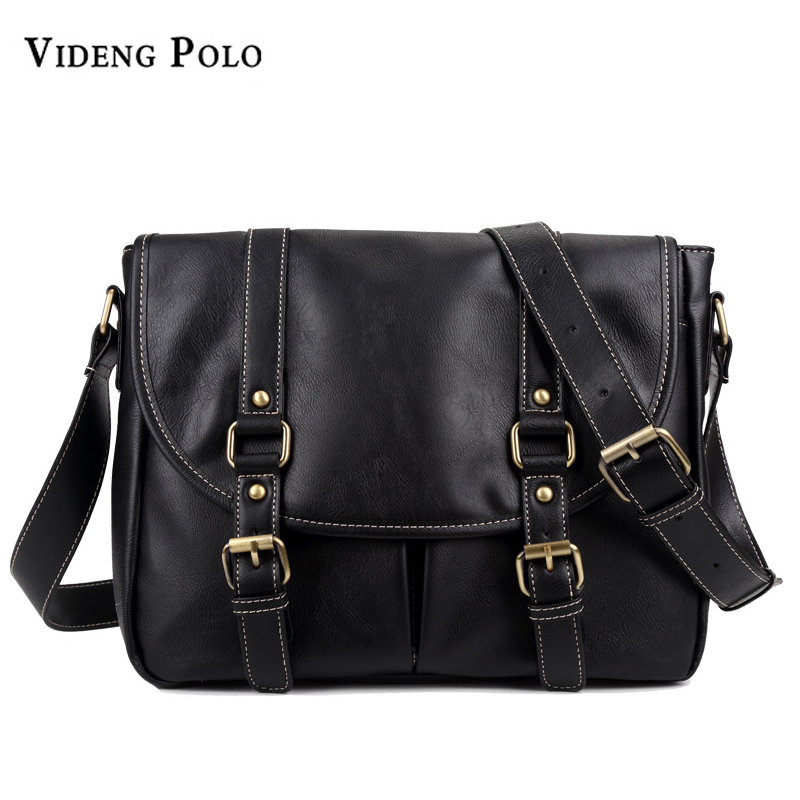 VIDENG POLO Brand Men Vintage Leather Business Large Capacity Crossbody Shoulder Bag Casual Travel Messenger Bags Male Bolsas danjue brand men chest bags real genuine leather male messenger bag casual fashion highquality big capacity travel crossbody bag