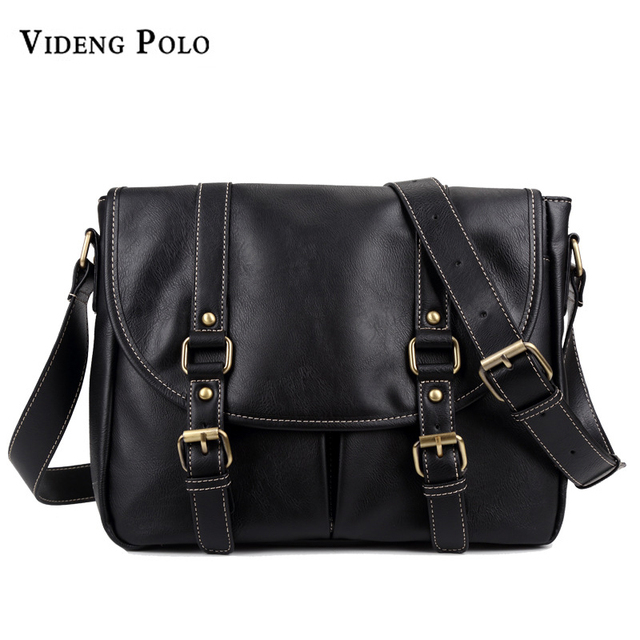 VIDENG POLO Brand Men Vintage Leather Business Large Capacity Crossbody Shoulder  Bag Casual Travel Messenger Bags 4ecf27b7bdb20