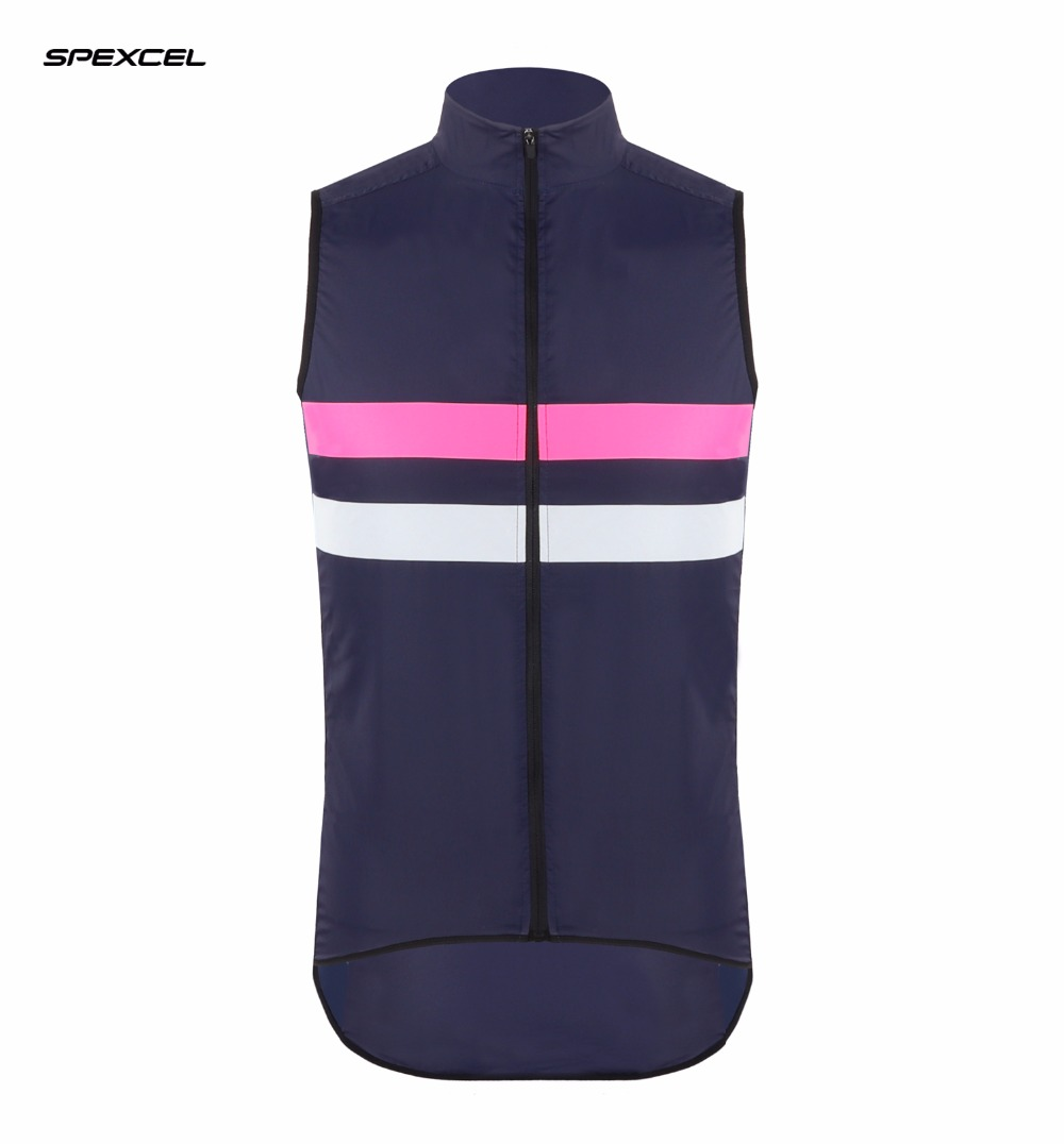 SPEXCEL 2017 New cut Top quality Navy  pink High visibility reflective lightweight cycling gilet windproof Water repellent Vest