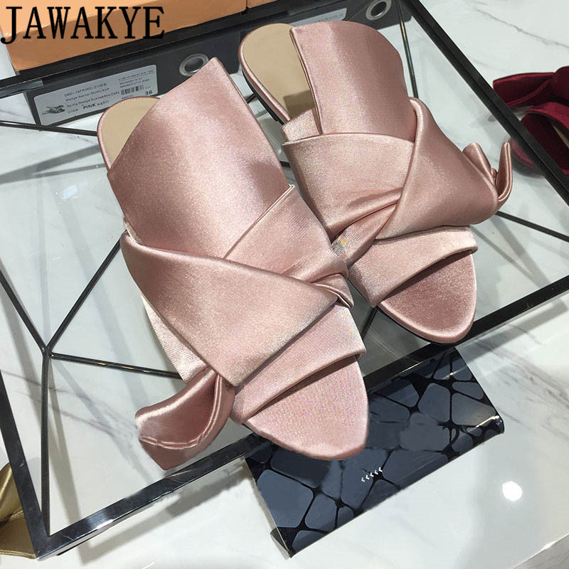 JAWAKYE Pink Red Flat Slipper Sandals Women Big Butterfly Knot Crossover Silk Beach Slides Summer Flat Shoes Women zapatos mujer цена 2017