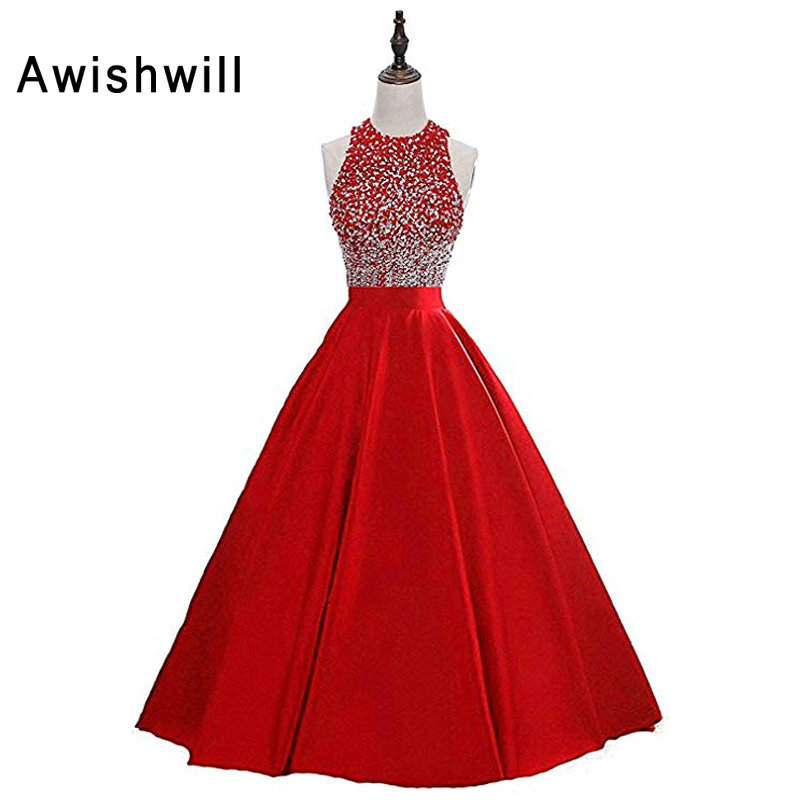 Red Long Evening Dress Open Back O Neck Beadings Satin Floor Length Modest Party Prom Dress