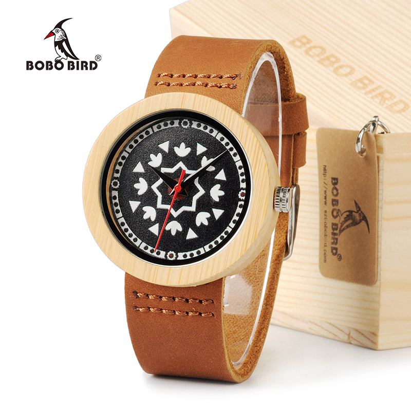 BOBO BIRD J16 Women s Top Brand Luxury Bamboo Wood Watch with Cow Leahter Strap Quartz