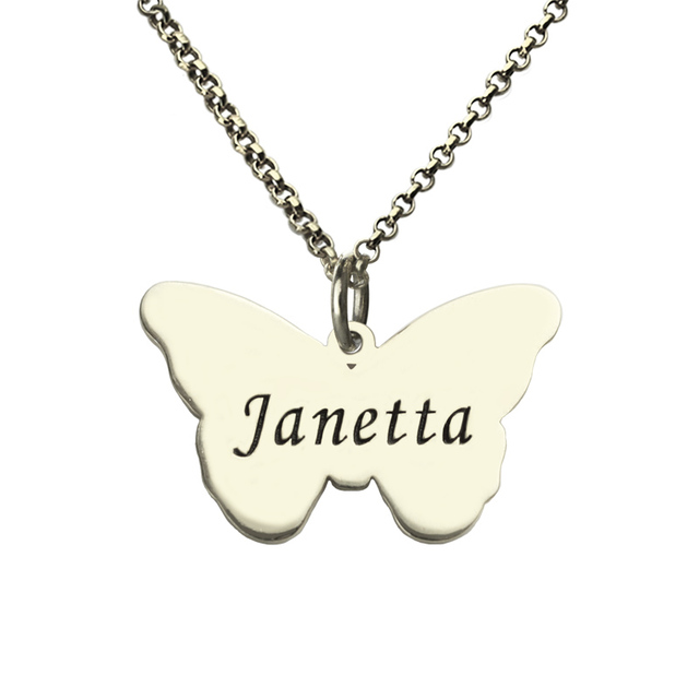 Wholesale Girls Name Butterfly Necklace Silver Engraved Butterfly Pendant Necklace Personalized Baptism Necklace Enjoy Freedom