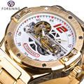 Forsining Mannen Horloge Automatische Mechanische Golden Bridge Holle Roestvrij Stalen Band Horloges Voor Man Luxe Sport Mannelijke Klok