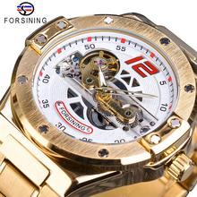 Forsining Men Watch Automatic Mechanical Golden Bridge Hollow Stainless Steel Band Wrist Watches For Man Luxury Sport Male Clock forsining golden skeleton mechanical watches men luxury brand watch automatic stainless steel casual wristwatch hollow out clock