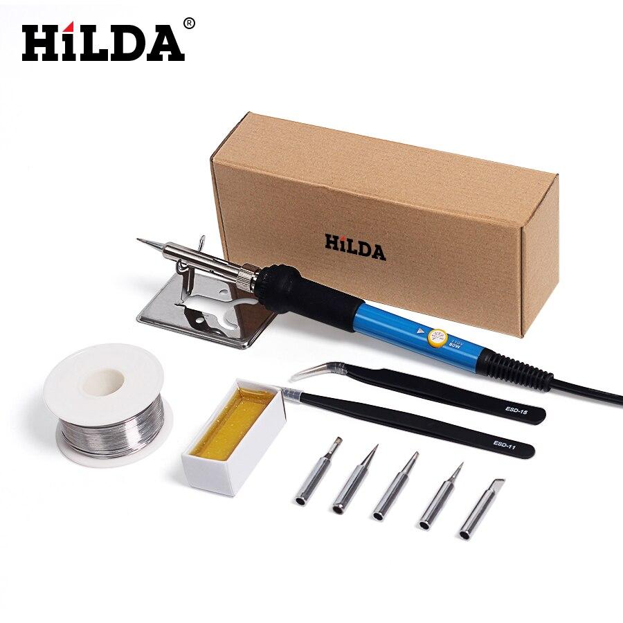 HILDA EU Elettrico Saldatore Con 5 pz Punta di Ferro e Pinzette Strumento Temperatura Regolabile Stazione di Saldatura Stand Solder Wire Kit