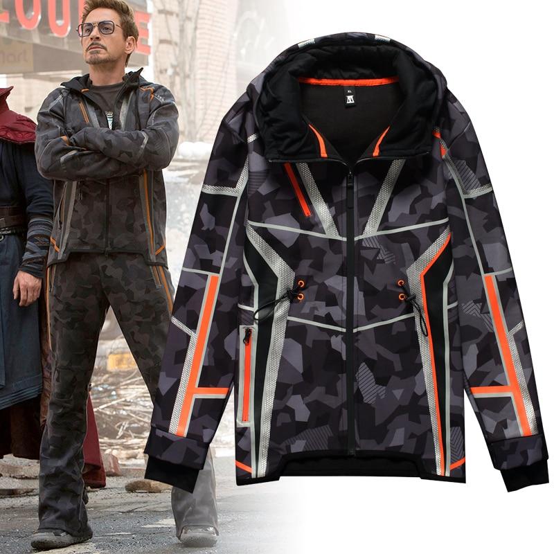 Avengers Endgame fer homme peluche hiver épais veste Tony même Style Halloween Cosplay Costumes Camouflage étoile amour manteau uniforme