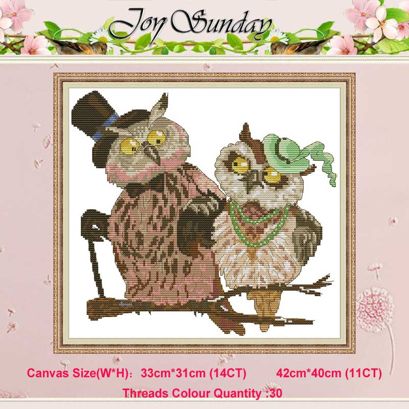 Owl Couple Animals Painting Counted 11CT 14CT Cross Stitch Set DIY DMC Chinese Cross-stitch Kit Embroidery Needlework Home Decor