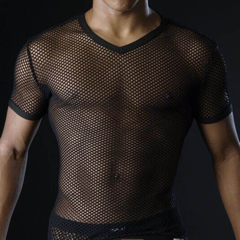 New Sexy <font><b>Men</b></font> T Shirts Transparent <font><b>Mesh</b></font> See Through Tops Tees T-shirt Clothing Man <font><b>Tshirt</b></font> V Neck Singlet Gay Male Casual Clothes image
