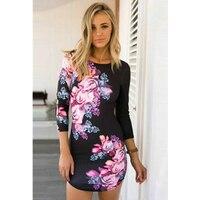 2015 הגעה חדשה קיץ חם נשים סקסי בנות עיצוב חלול פרח הדפסת נדן שמלה רזה ירך עם Sml XL L27949
