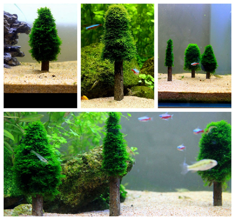 artificial aquarium xmas moss christmas tree fish tank simulation plant grow cultivation landscape ornament decoration accessory in decorations from home