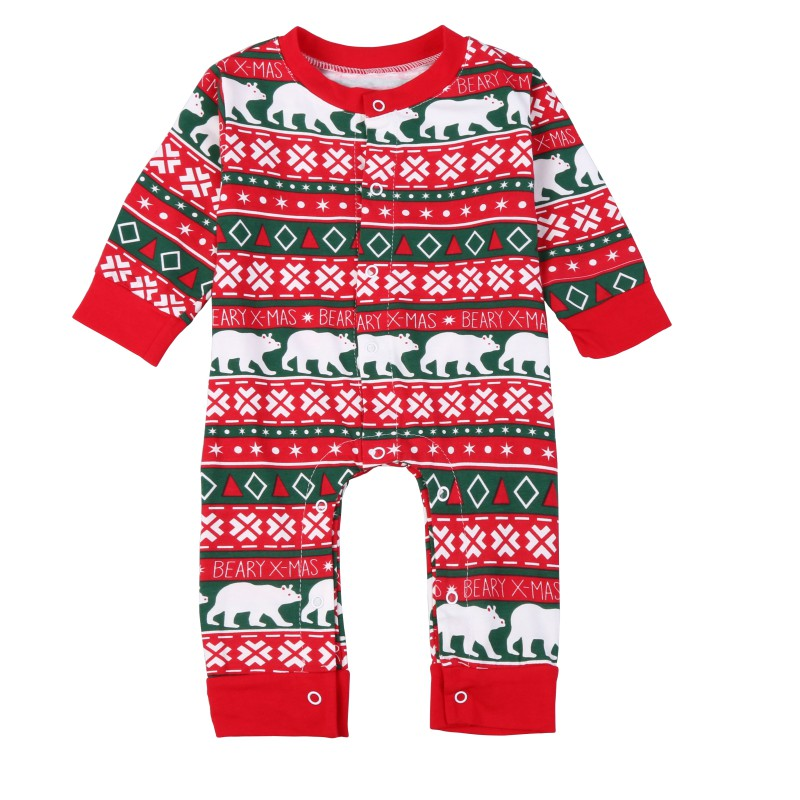 Newborn Infant Baby Christmas Clothes Sets Girls Boys Long Sleeve Cotton Jumpsuits Print Playsuit Clothes Outfits