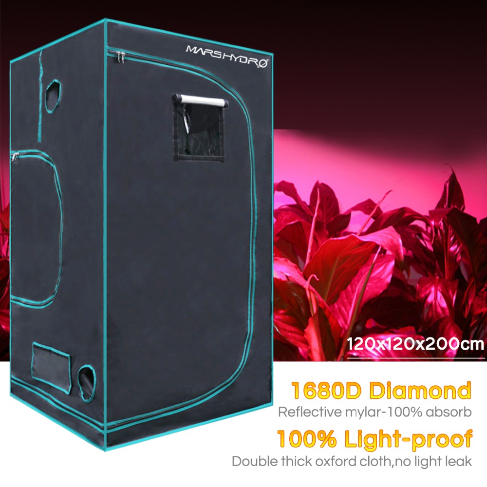 1680D Marshydro Grow Tent/Box 120*120*200 Cm For Hydroponics Indoor LED Grow System
