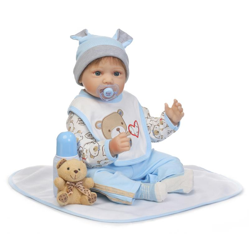 55cm New arrivel silicone reborn baby boy doll toy realistic newborn babies dolls child kid birthday present lovely girls brinqu