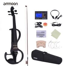 Ammoon полный размер 4/4 Скрипка из цельного дерева Электрический бесшумный стиль-3 эбеновый гриф с колками подбородок
