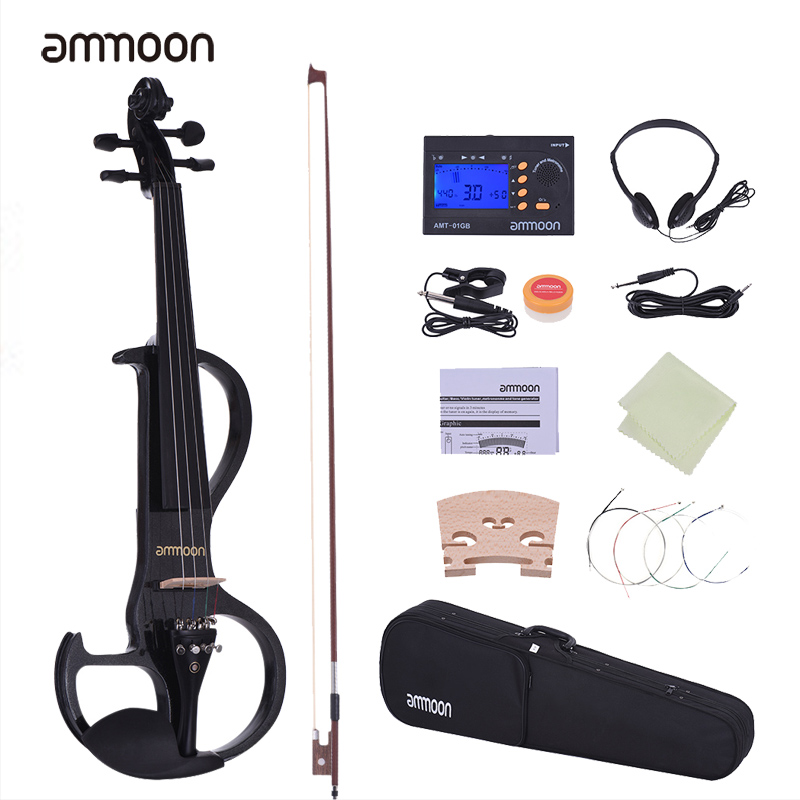 Ammoon Full Size 4/4 Violin Fiddle Solid Wood Electric Silent Style-3 Ebony Fingerboard Pegs Chin Rest Tailpiece