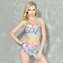 2017 New Sexy Bikini Swim Belt Retro Floral Push Up High Bodysuit Bikini Set Beach Girls Swimwear to Bain Biquini Free Shipping