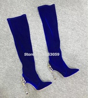 Women Luxurious Royal Blue Velvet Metal Heel Boots Pointed Toe Cut out Heels Dress Boots Over the knee Gold Heels Boots Size43