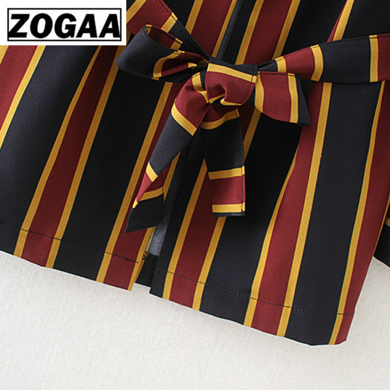 Autumn 2019 Vertical Striped Belt Jacket Women's Suit Jacket Spring Clothes Women Casual Notched Fashion Ladies Tops ZOGAA