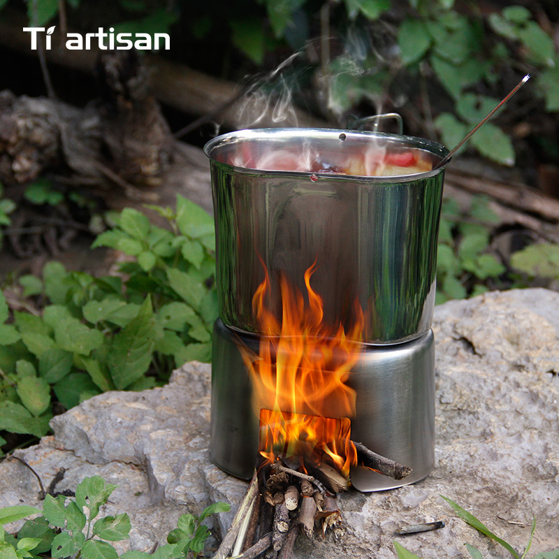 Tiartisan Outdoor Camping 304 Stainless steel Army Edition Canteen Cup Lunch box with Bail handle and Wood stove set image