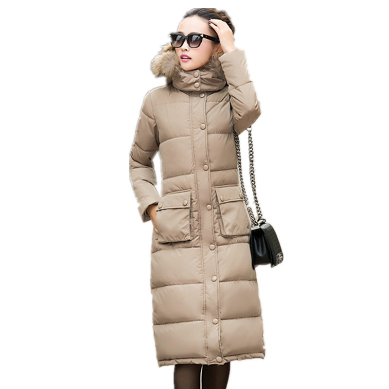 Cotton Padded Jacket Faux Fur Collar Hooded Long Slim Thick Wadded Coat Large Size Women parka,warm Jacket Winter Overcoat TT255 thick cotton padded jacket fur collar hooded long section down cotton coat women winter fashion warm parka overcoat tt215