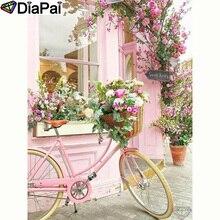 """DIAPAI полная квадратная/круглая дрель 5D DIY Алмазная картина """"Цветочный велосипед"""" Алмазная вышивка крестиком 3D декор A20012"""