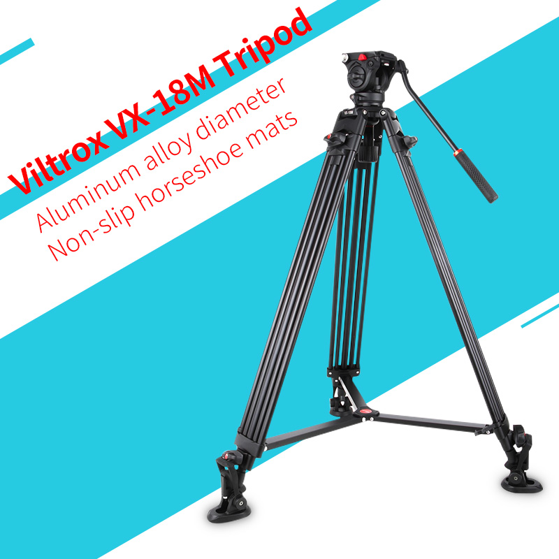 1.8M Tripod Viltrox VX-18M Pro Heay Duty Aluminum Video Tripod + Fluid Pan Head + Carry Bag for Camera DV DSLR Comcorder Video shockproof dustproof camera tripod carry bag