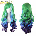 Harajuku Wig Anime Blue Green Mixed Purple Wig Cosplay Long Wavy Curly Wig Heat Resistant Synthetic Wigs Free Shipping