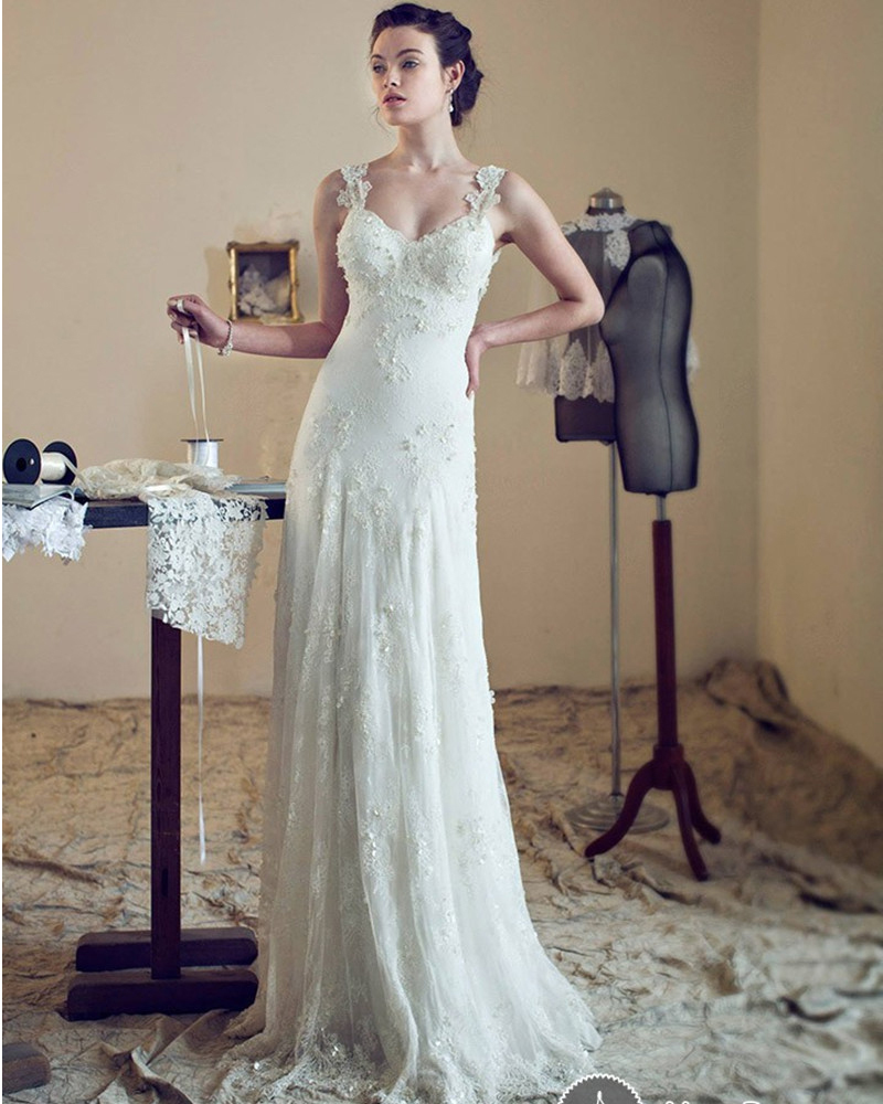 Lace Wedding Gowns With Straps: Aliexpress.com : Buy New Sweetheart Lace Wedding Dress