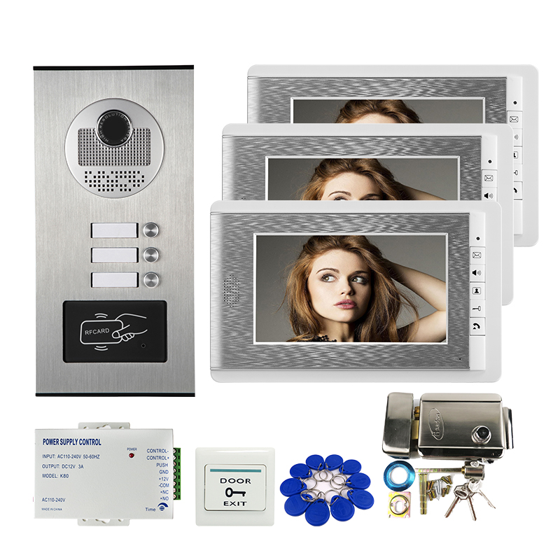 """FREE SHIPPING NEW 7"""" Screen Video Door Phone Apartment Intercom System + RFID Access Outdoor Camera for 3 Family + Electric Lock-in Video Intercom from Security & Protection    1"""