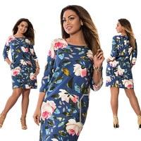 Hot 5XL 6XL Large Size 2017 Summer Dress Big Size Flowers Print Dress Straight Elegant Dresses