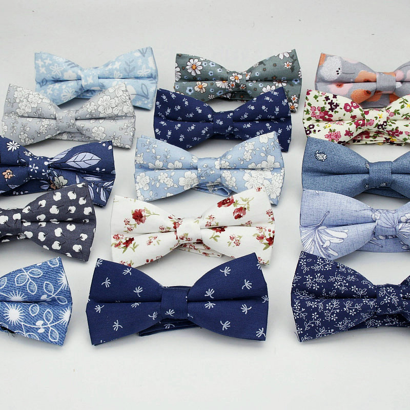 2018 Brand New Floral Bow Ties 100% Cotton Bowtie Neckties For Men Wedding Party Business Suits Gravata Navy Butterfly Cravat