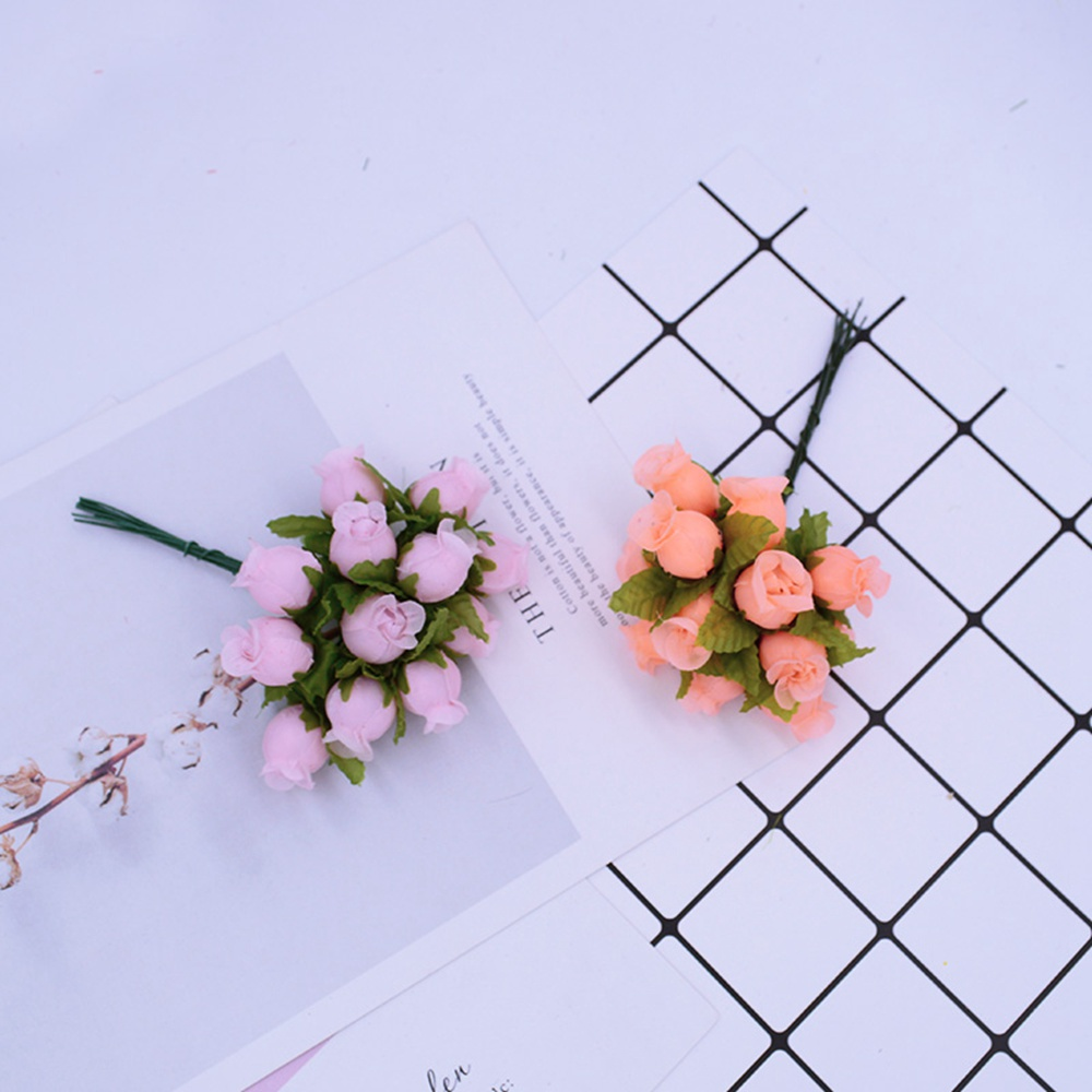 12pcs/Bundle MINI Silk Roses Artificial Flowers For Home And Wedding Decoration 2