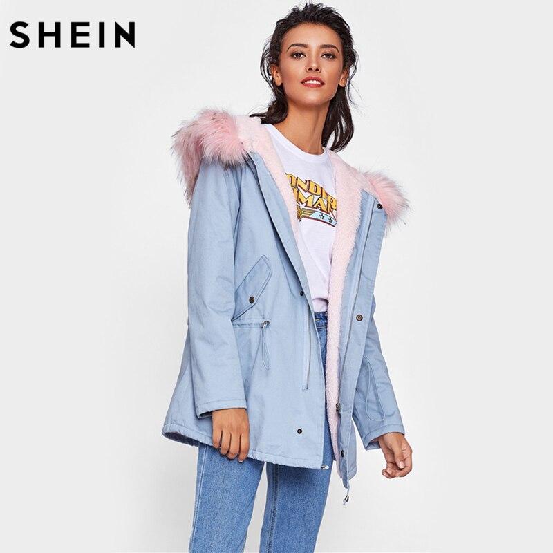 Шеин Искусственный мех trim Hoodie шнурок Пальто Повседневное Для женщин зимнее пальто синий с длинным рукавом на молнии с капюшоном Для женщин ... ...
