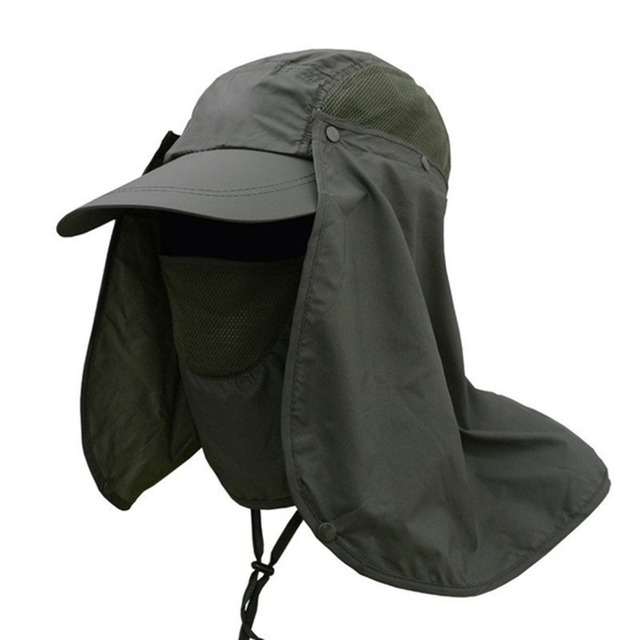 Outdoor Sport Hiking Camping Visor Hat UV Protection Face Neck Cover  Fishing Sun Protect Cap Best 226cc8e5f30