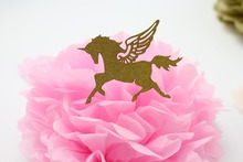 24PCS Gold Glitter Unicorn Birthday Wedding Cupcake Toppers Baby shower Cake toppers Party Supplies Decoration