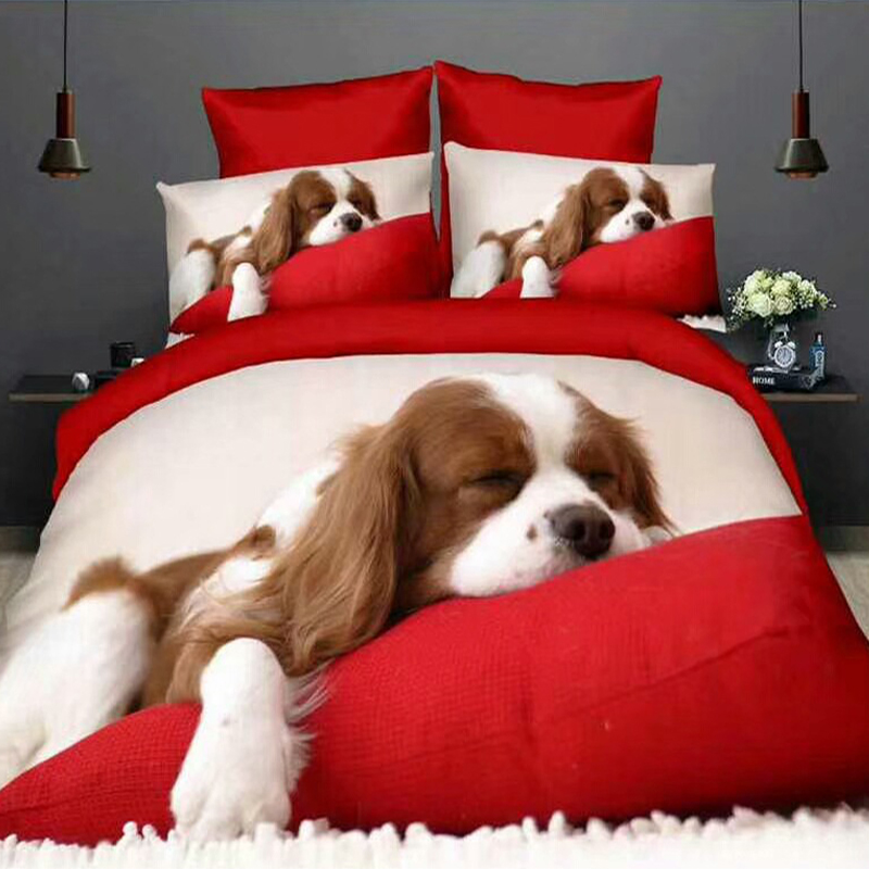 Winter 3D Grinding Four pieces set cute dog children bedding Queen size luxury 200x230 down quilt bed sheets Warm Home textile