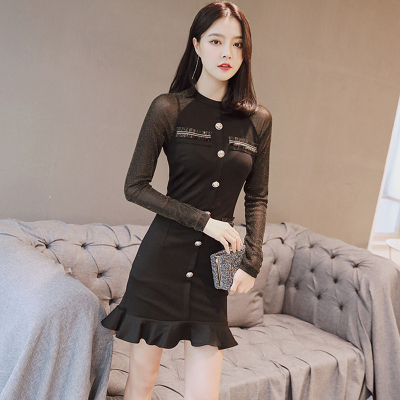 2694105dd9 Autumn Black Gauze Patchwork Mermaid Dresses O Neck Long Sleeve Bodycon Dress  Women Office Sexy Party Ladies Dresses Vestidos-in Dresses from Women's ...