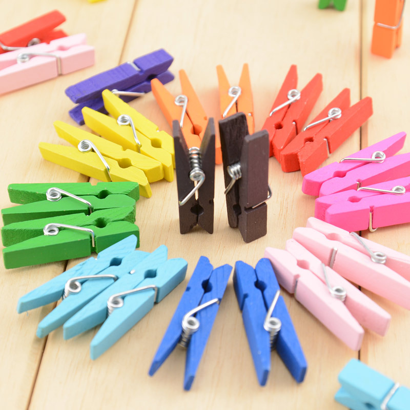 10pcs/pack 3.5cm Colorful Wood Clip Paper Clips For Wedding Photo Samll Spring Clips