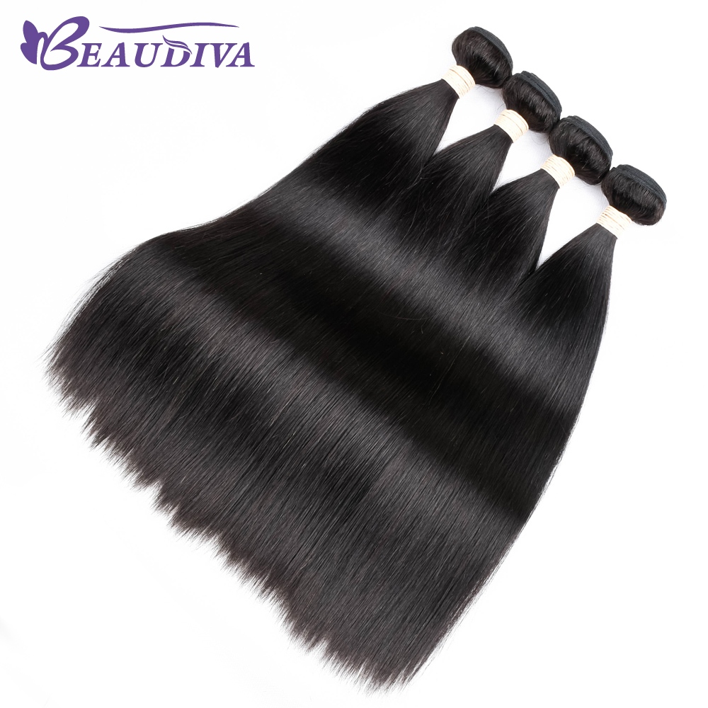 BEAUDIVA Hair Malaysian Straight Hair Extensions 8-26inch 100% Human Hair Bundles Natural Color None Remy Hair Weave
