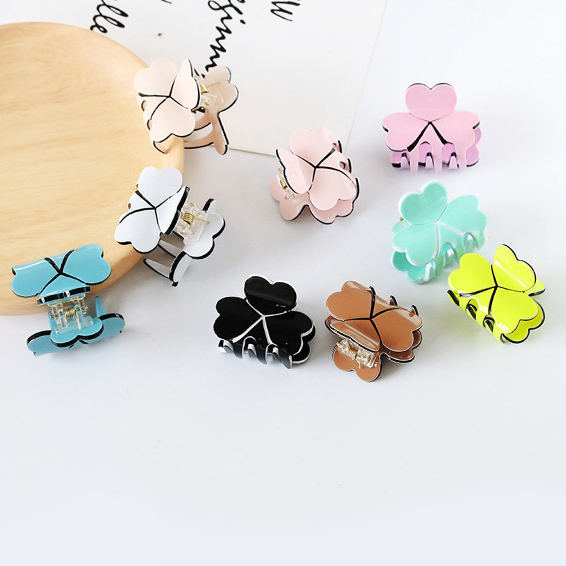 Hairpin Clover Acrylic Four Leaf Hairpins Colorful Hair Claws Clip Clamp Barrettes Cute Girl Lady Pins Styling Tools