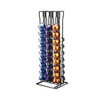 1PC Coffee Pod Holder Stand Coffee Capsule Rack Capsule Stand for Nespresso 60 Capsules Black Plastic Spray Treatment