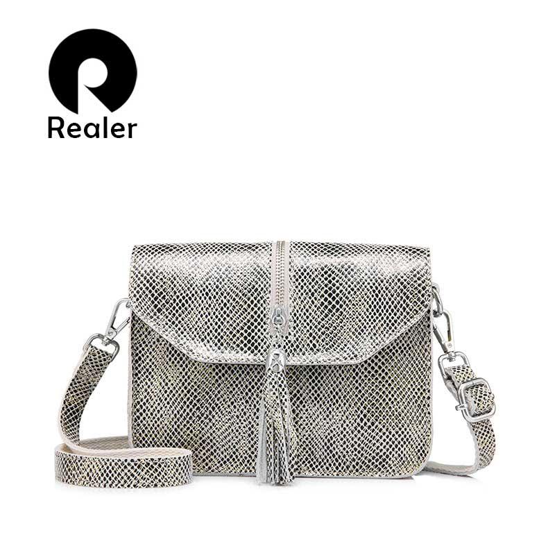 REALER crossbody bags for women genuine leather small shoulder messenger bags designer handbags high quality evening