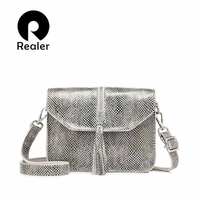 27be2078babf REALER сумка женская натуральная кожа через плечо с кисточкой,повседневная  маленькая сумка женская с съёмным