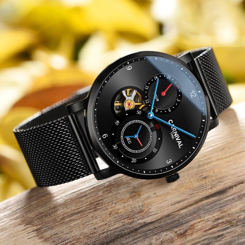dec0a827d Moda Tourbillon relógios Mecânicos CARNAVAL 2019 homens Automáticos do  relógio Pequeno segundo dial 24 exibir horas Montre homme relógio de Safira